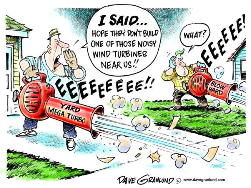"""Two men with leaf blowers complaining about the possibility of """"noisy"""" wind turbines."""