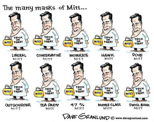 Mitt Masks:  Liberal Mitt, Conservative Mitt, etc.  They all look the same.
